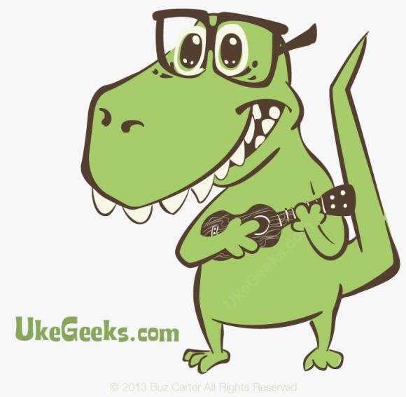 UkeGeeks Scriptasaurus Nerd Dino Playing Ukulele